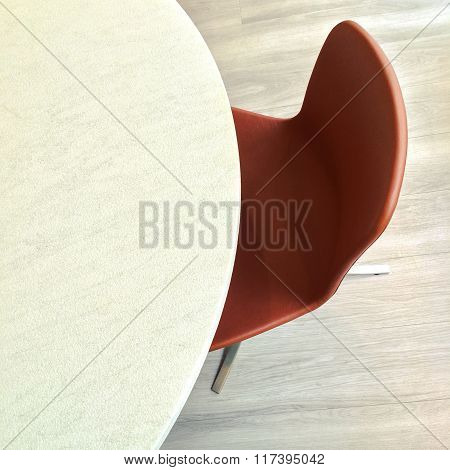 Leather Chair And Round Marble Table