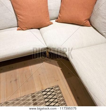 Modern Corner Sofa With Two Cushions