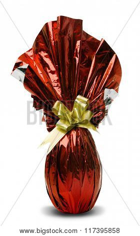 Brazilian Easters Egg in red isolated on a white background