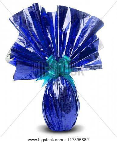 Brazilian Easters Egg in blue isolated on a white background