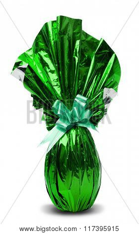 Brazilian Easters Egg in green isolated on a white background