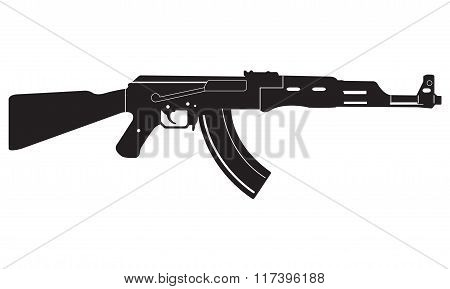 Gun icon. Machine Gun black silhouette. Vector illustration.