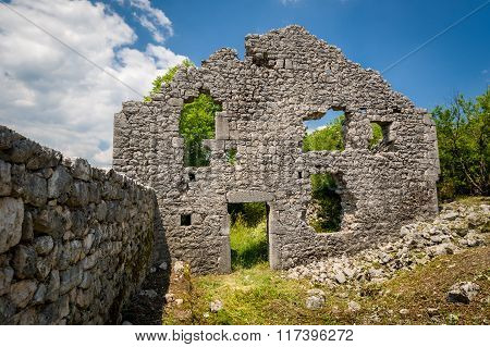 Ruins of Bedem fortress in Niksic, Montenegro