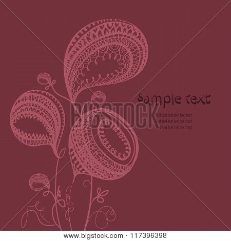 Bizarre Floral Composition Dark Burgundy With Space For Text
