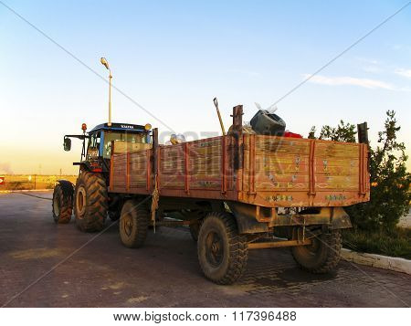 Tractor With The Painted Trailer