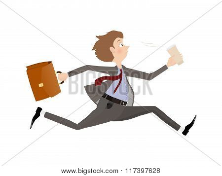 Employee rush to the office to the beginning of the working day or Business man late for an appointm