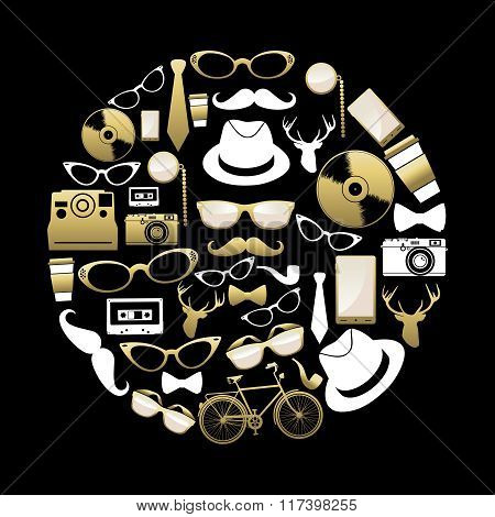 Vintage Hipster Concept Icons Silhouette In Gold