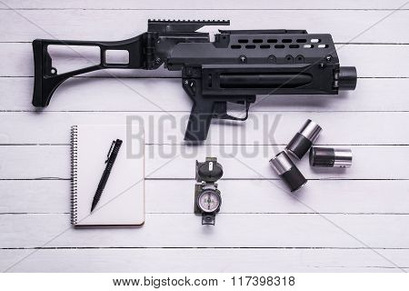 Grenade Launcher With Shell Casings, Notepad And Pen,compass.top View