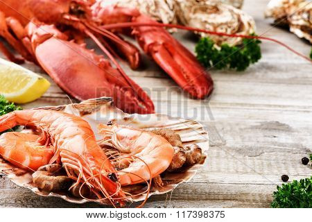 Fine Selection Of Crustacean For Dinner. Lobster, Jumbo Shrimps And Oysters