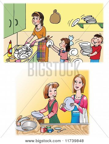 Washing The Dishes