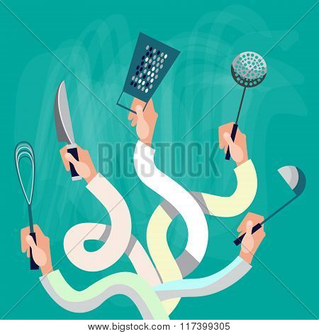 Hands Group Holding Cooking Utensils