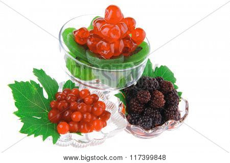 black and red berry's in transparent glass bowl