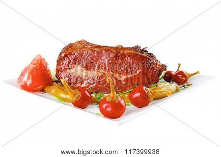 prime beef chunk with red and green peppers