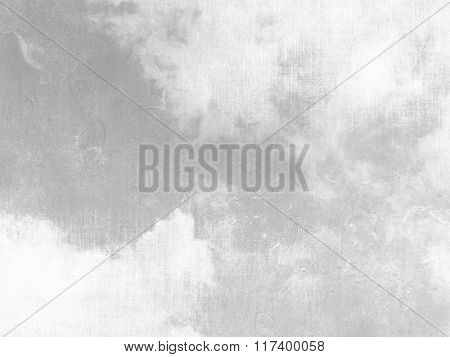 Gray sky background with white clouds and soft vintage texture