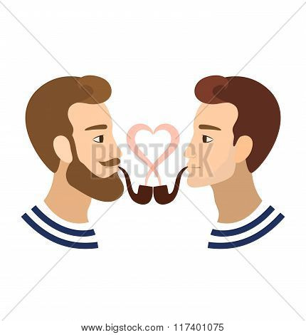 Valentine's greeting card gay homosexuals Couple illustration
