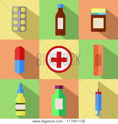 Medicine pills vector set