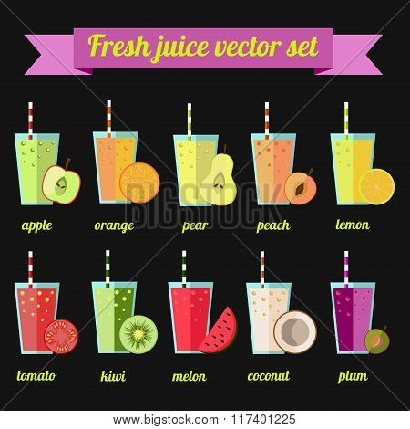 Fresh juice vector set