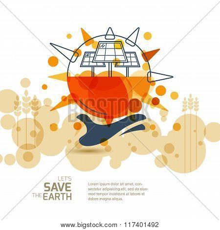 Vector Modern Illustration Of Solar Alternative Energy Generator.