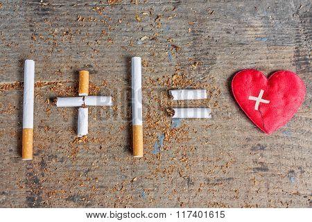 Harm of smoking. Diseased heart