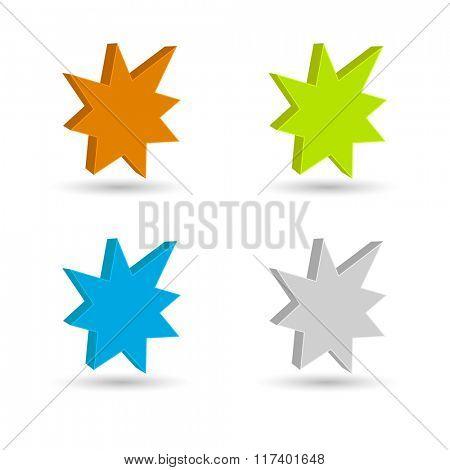 starburst - splash star icon 3d set