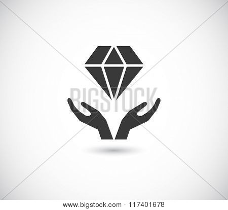 hands support diamond - black web icon
