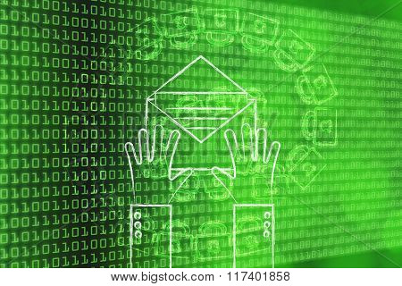 Hands Opening An Email, With An Overlay Of Padlock At Symbol