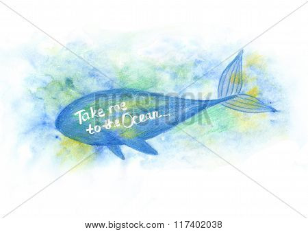 Illustration Of Watercolor Whale