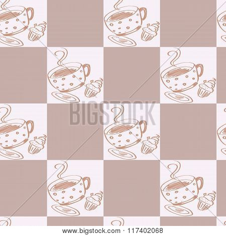 Vector Illustration Of A Seamless Coffee Pattern
