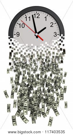 Time Is Money. Clock Falling Apart To Dollars.