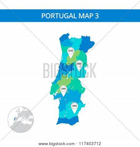 Portugal map template 3