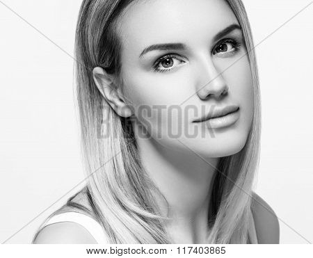 Woman Beauty Portrait. Isolated On White. Close Up Female Face. Black And White