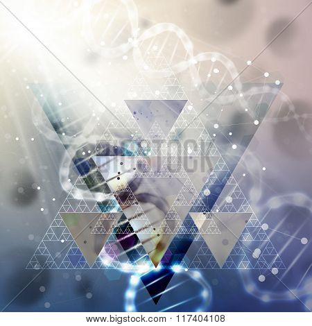 DNA molecule structure on light blue background. Science vector background