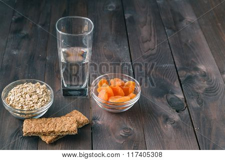 Energy Bar With Water Glass
