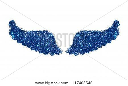 Abstract wings of blue glitter on white background