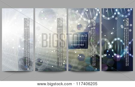 Set of modern flyers. DNA molecule structure on dark blue background. Science vector background