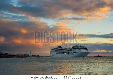 Big oceanic ship calling at Yalta port at fall season