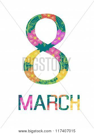 8 March Concept, Flower With Circle.