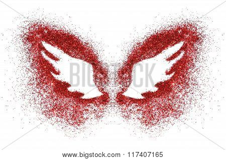 Abstract wings of red glitter on white background