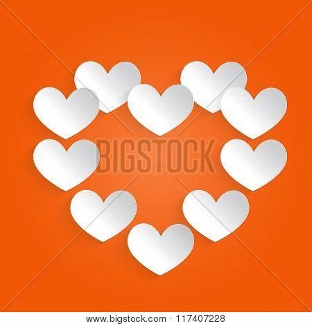 White Heart On An Orange Background.