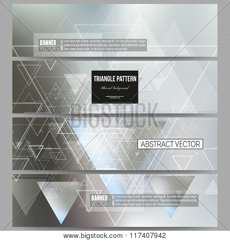 Set of modern vector banners. Abstract blurred background with triangles, lines and dots.