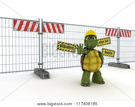 3D render of a tortoise with construction barrier fence