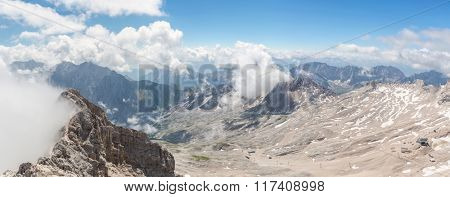 Panorama view of Alpine Alps mountain at Zugspitze top of Germany