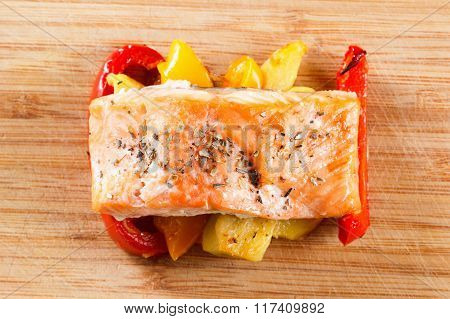 Grilled Salmon Fillet With Vegetables And Spices N A Plate