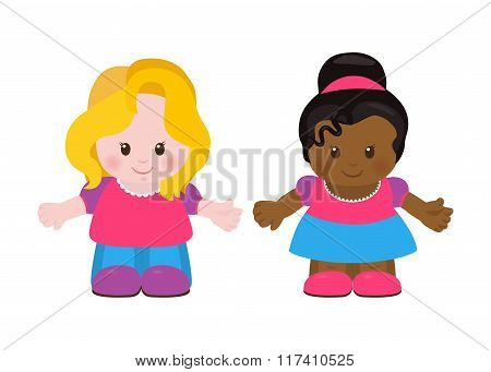 Two Little Girls, Cartoon Style