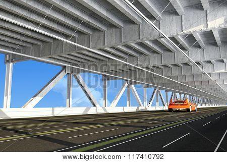 Sport car on the bridge.