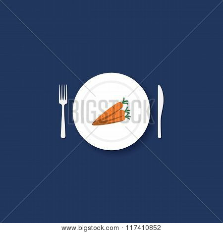Carrots on plate with fork and knife. Healthy eating symbol in modern flat design.