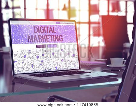 Laptop Screen with Digital Marketing Concept.
