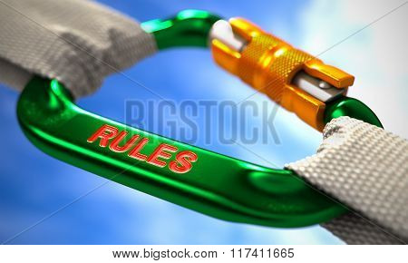 Rules on Green Carabine with White Ropes.