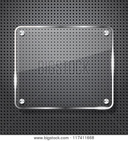 Grey glossy plate on metal grid