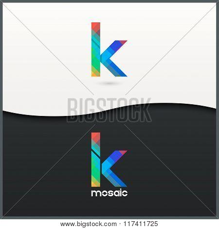 letter K logo alphabet mosaic icon set background